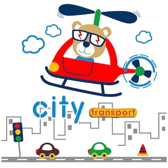 도시 재미있는 만화에서 헬리콥터에 곰. 삽화.