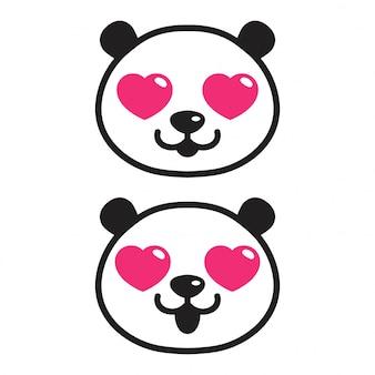 Bear Panda Heart Cartoon Vector Premium Download