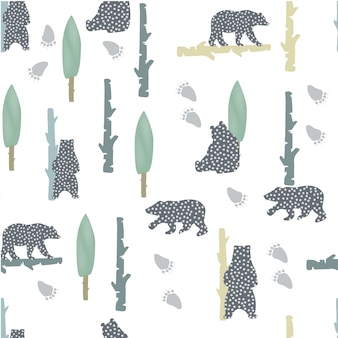 Bear pattern with dots. nordic style. modern animal background
