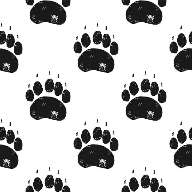 곰 발 패턴입니다. 곰 발톱 원활한 배경입니다. 발자국 벽지. 빈티지 손으로 그린 실루엣 스타일. 주식 벡터 일러스트 레이 션 절연입니다.