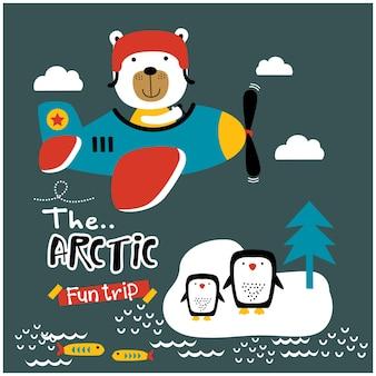 Bear the pilot funny animal cartoon