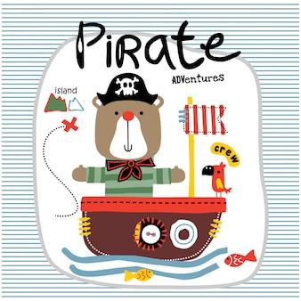 Bear the pirates funny animal cartoon, illustration