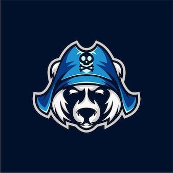 クマの海賊のマスコットのロゴ