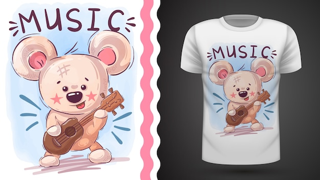 Bear play music - idea for print t-shirt