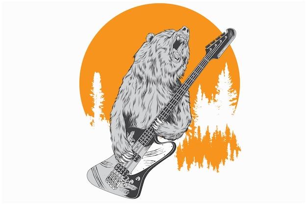 베이스 기타를 연주하는 곰.