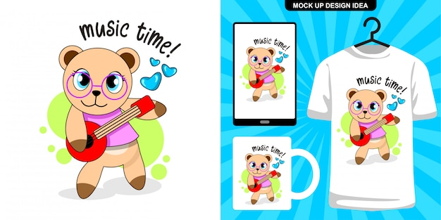 Bear playing guitar cartoon illustration and merchandising design