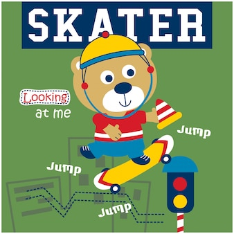 Bear playing skateboard funny animal cartoon