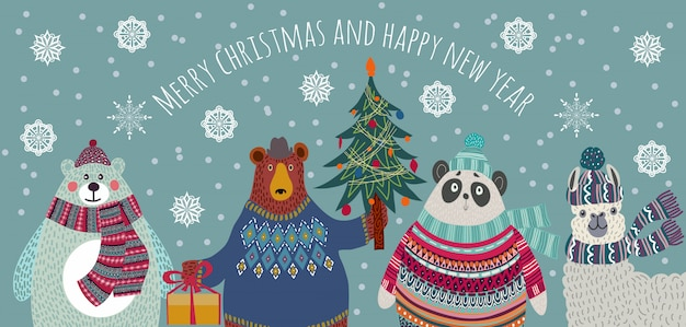 Bear, polar bear, panda and llama in winter clothes christmas greeting