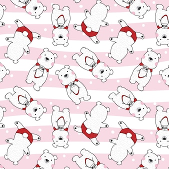 Bear polar bear with camera vector seamless pattern