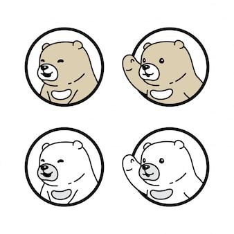 Bear polar character cartoon window icon illustration