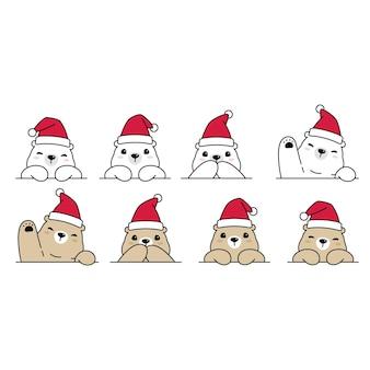 ホッキョクグマのクリスマスサンタクロースの漫画のキャラクター