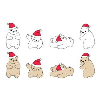 ホッキョクグマのクリスマスサンタクロースの帽子の漫画のキャラクターの落書き