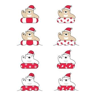 ホッキョクグマのクリスマスサンタクロースの帽子漫画のキャラクターの浮き輪