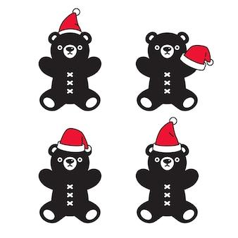 クマ極クリスマスサンタクロース帽子テディキャラクター漫画