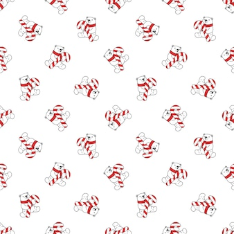 Bear polar christmas seamless pattern santa claus candy cane