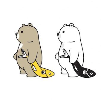 Bear polar fish cartoon
