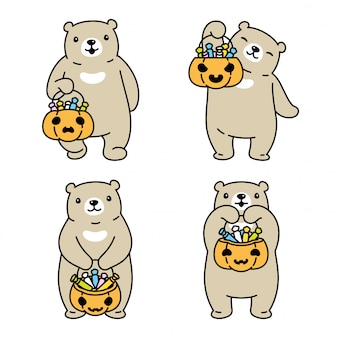 Bear polar halloween candy basket cartoon
