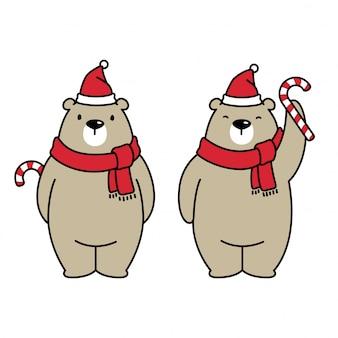 Bear polar santa claus