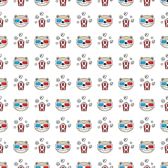 Bear polar seamless pattern 3d glasses popcorn teddy cartoon
