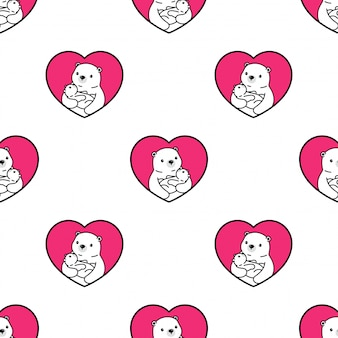 Bear polar seamless pattern baby hug cartoon illustration