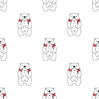 Bear polar seamless pattern baby teddy