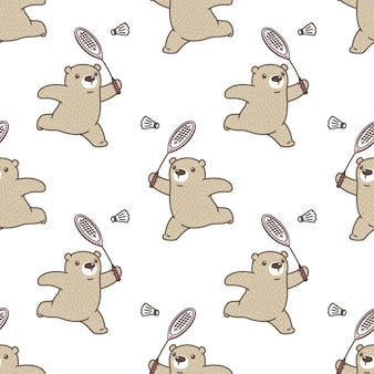 Bear polar seamless pattern badminton sport illustration