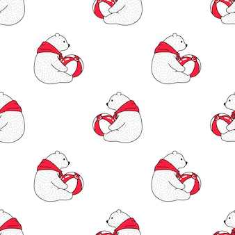Bear polar seamless pattern ball illustration