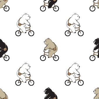 Bear polar seamless pattern bicycle illustration