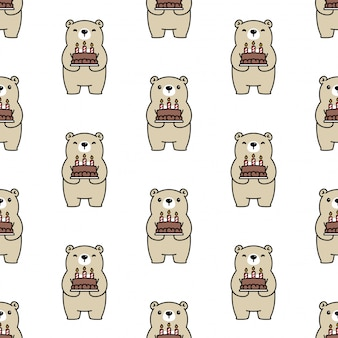 Bear polar seamless pattern birthday cake cartoon illustration