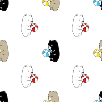 Bear polar seamless pattern bolloon ball illustration