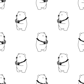 Bear polar seamless pattern camera illustration