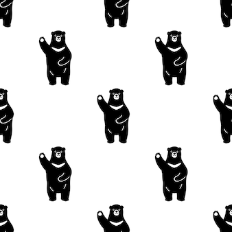Bear polar seamless pattern cartoon illustration