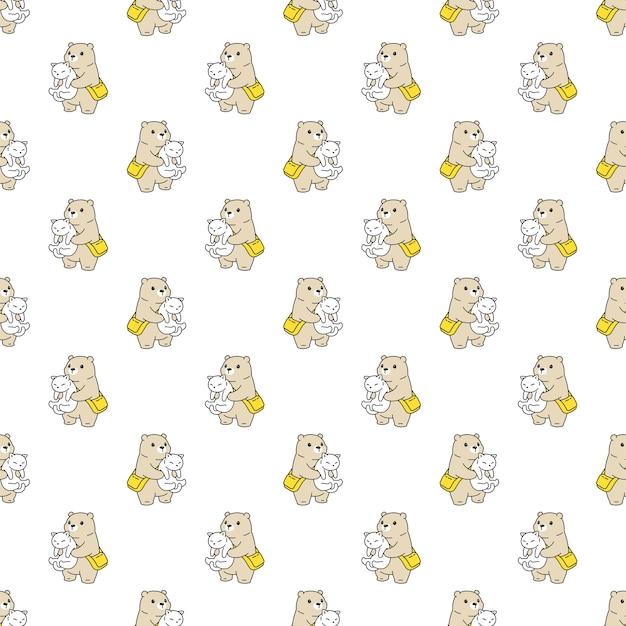 Медведь полярный бесшовные модели кошка котенок мультипликационный персонаж