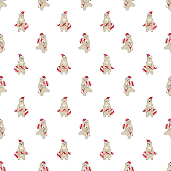 Bear polar seamless pattern christmas santa claus candy cane