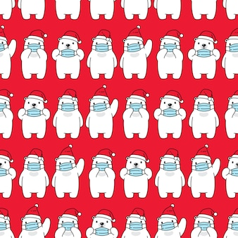 Bear polar seamless pattern christmas santa claus face mask covid19