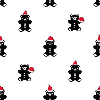 ホッキョクグマのシームレスなパターンクリスマスサンタクロース帽子テディ