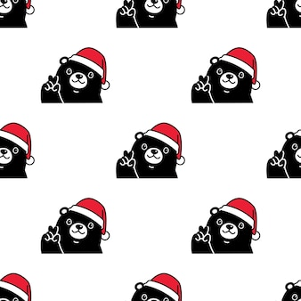 Bear polar seamless pattern christmas santa claus hat