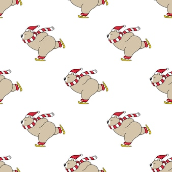 Bear polar seamless pattern christmas santa claus ice skating