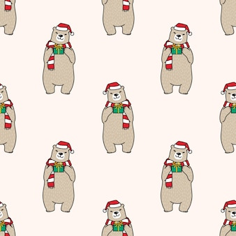 Bear polar seamless pattern christmas santa claus illustration
