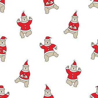 Bear polar seamless pattern christmas santa claus Premium Vector