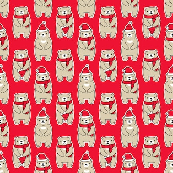 Bear polar seamless pattern christmas santa claus