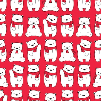 Bear polar seamless pattern christmas scarf cartoon