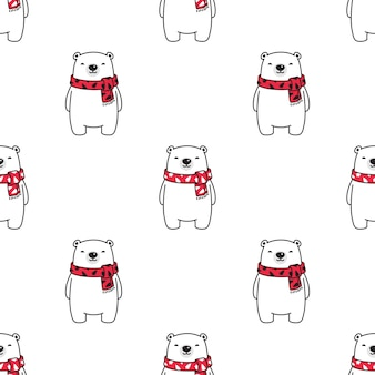 Bear polar seamless pattern christmas scarf Premium Vector