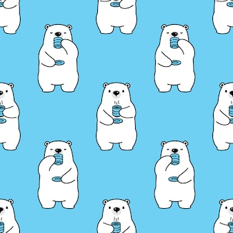 Bear polar seamless pattern coffee tea