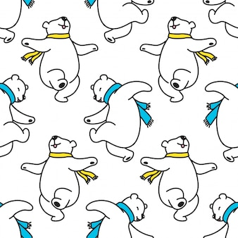 Bear polar seamless pattern dancing cartoon