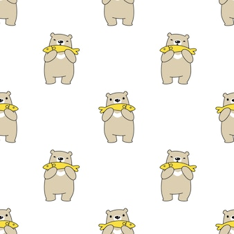Bear polar seamless pattern fish cartoon illustration