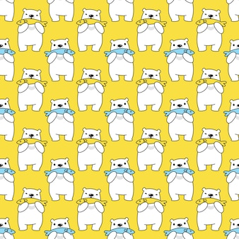 Bear polar seamless pattern fish teddy cartoon