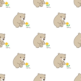Bear polar seamless pattern flower