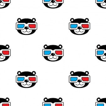 Bear polar seamless pattern  glasses cartoon