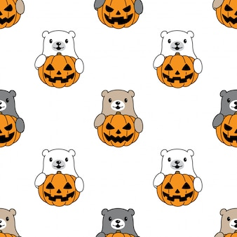 Bear polar seamless pattern halloween pumpkin cartoon